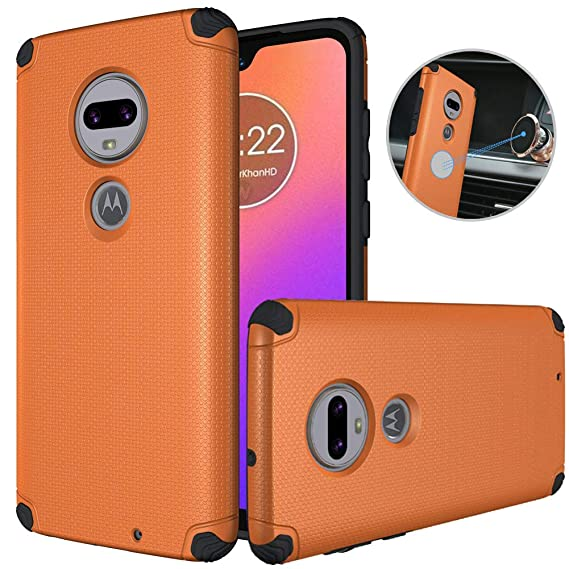 Dretal Motorola Moto G7 Case, Moto G7 Plus Case, Shock-Absorption Armor  Anti-Slip Texture Protective Case Cover with Embedded Metal Plate for  Magnetic