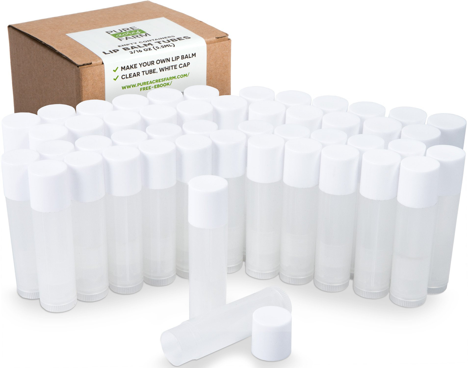 50 Lip Balm Containers - Empty Tubes - Make Your Own Lip Balm - 3/16 Oz (5.5ml) (50 Tubes, Clear) by Pure Acres Farm