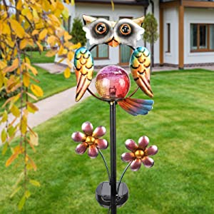 Outdoor Solar Garden Stake Lights Waterproof Crackle Glass Globe Stake Metal Light for Walkway Pathway Lawn Patio Decor (owl)