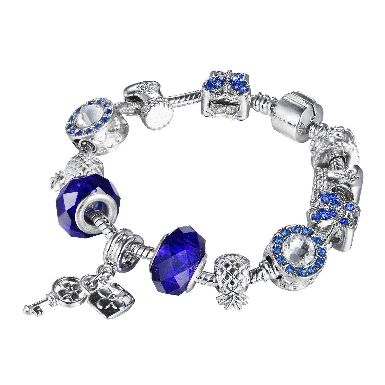 Envious Youth Charm Bracelet, Silver Plated Glass Beads Bracelet, DIY Snake Chain Bracelet, Gift for Girls Women Ladies, Blue