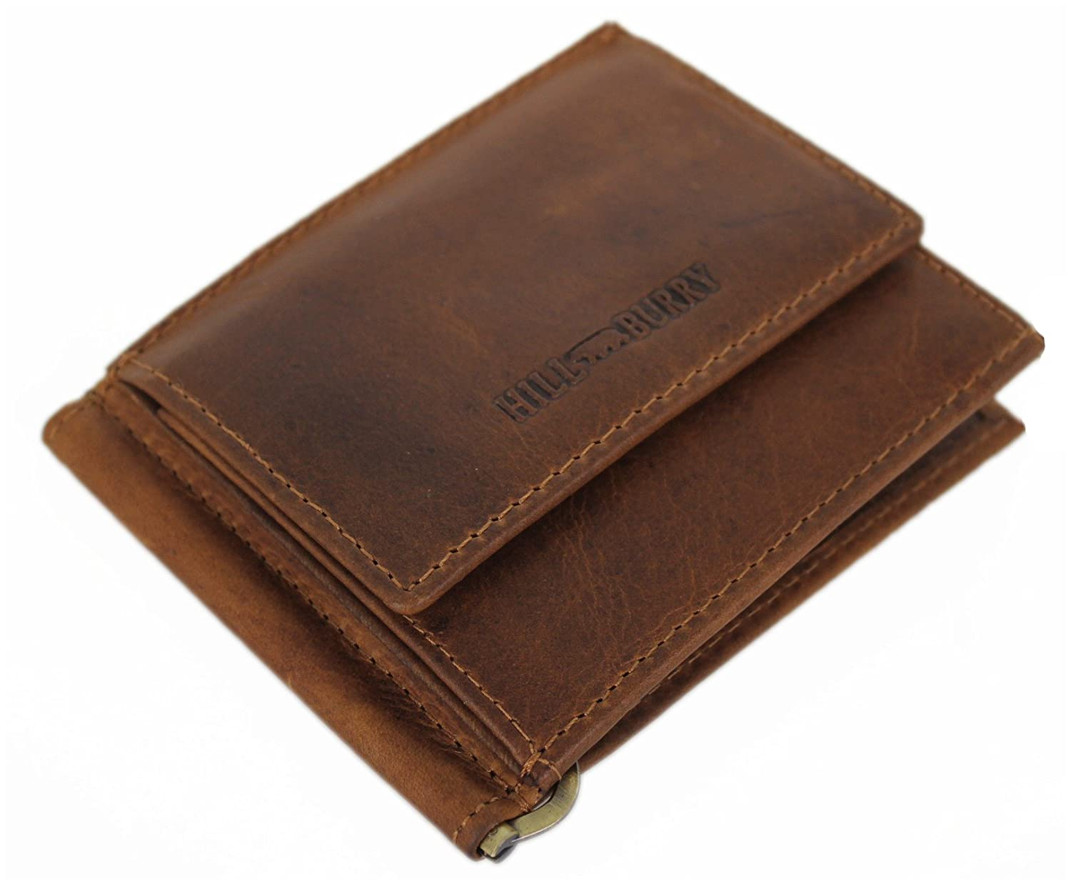 Hill Burry Wallet For Men Money Clip Bifold ID Card Holder Case Genuine Leather Handmade Vintage With Coin Pocket Zipper Monaco