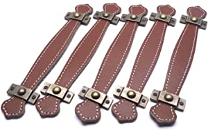"""Tulead Handle Leather Suitcase Handle Brown Leather Handle Leather Pull Furniture Handles 7.6"""" Length 5PCS with Mounting Screws (5.1-Inch Hole to Hole)"""