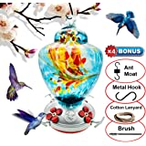 REZIPO Hummingbird Feeder with Perch - Hand Blown Glass - Blue - 38 Fluid Ounces Hummingbird Nectar Capacity Include…