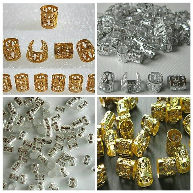 20Pcs Dreadlock Beads Gold Silver Dread Hair Braid Adjustable Cuff tube ClipWCP