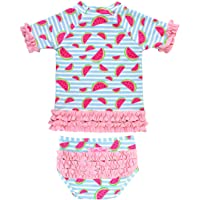 RuffleButts Little Girls Short Sleeve Printed Rash Guard Two Piece Swimsuit Set UPF 50+ Sun Protection