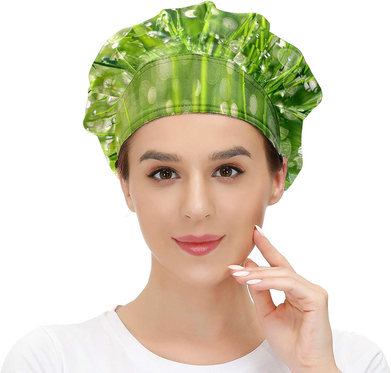 Gorra de trabajo para el pelo largo con banda elástica ajustable para el sudor Gorras de trabajo para los hombres de trabajo bufanda 3D impresa sombreros hierba rocío perla planta Bokeh