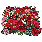 24pcs rose flower embroidered fabric Iron-on or Sew-on patch badges (Mixed colors Set 12)