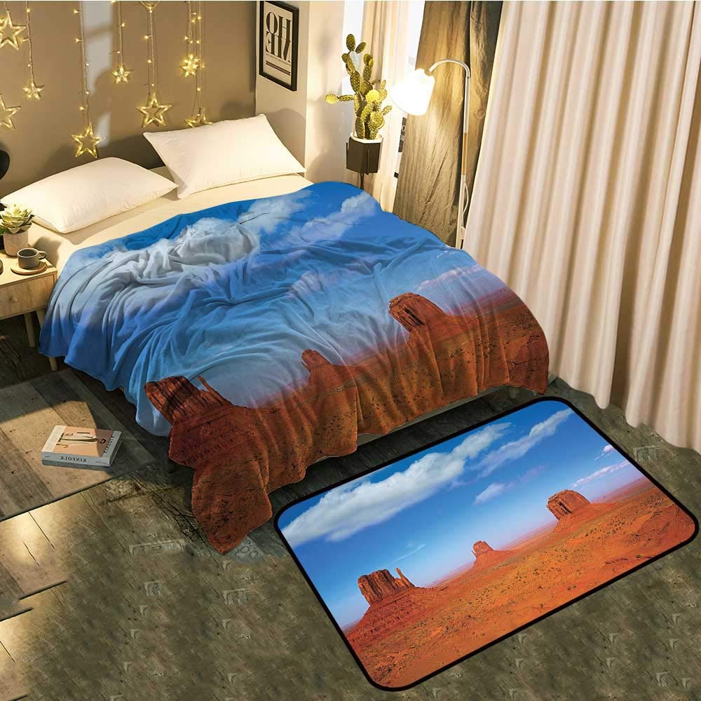 color03 Blanket 30 x50  Mat 22 x36  Blanket Floor mat Two-pieceIllustration of Wild West Elements with Country Music Guitar and Cowboy Boots Retro Better Deeper Sleep Blanket 60 x78  Mat 5'X8'