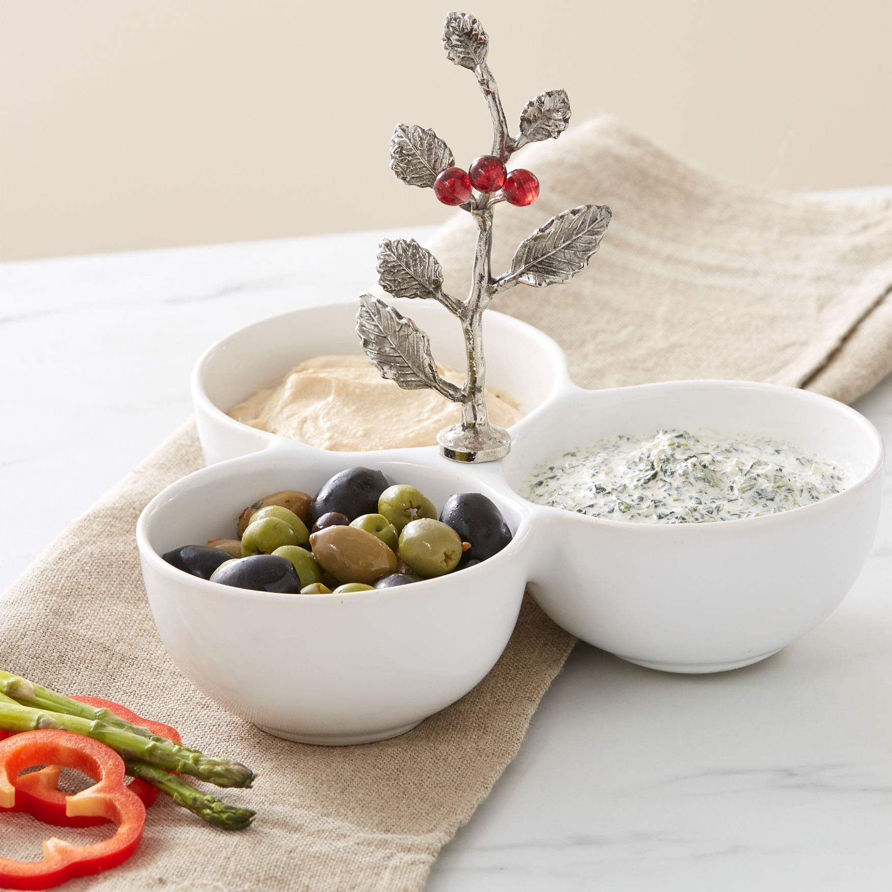 Brylanehome 3-Section Holly Nut Bowl - White