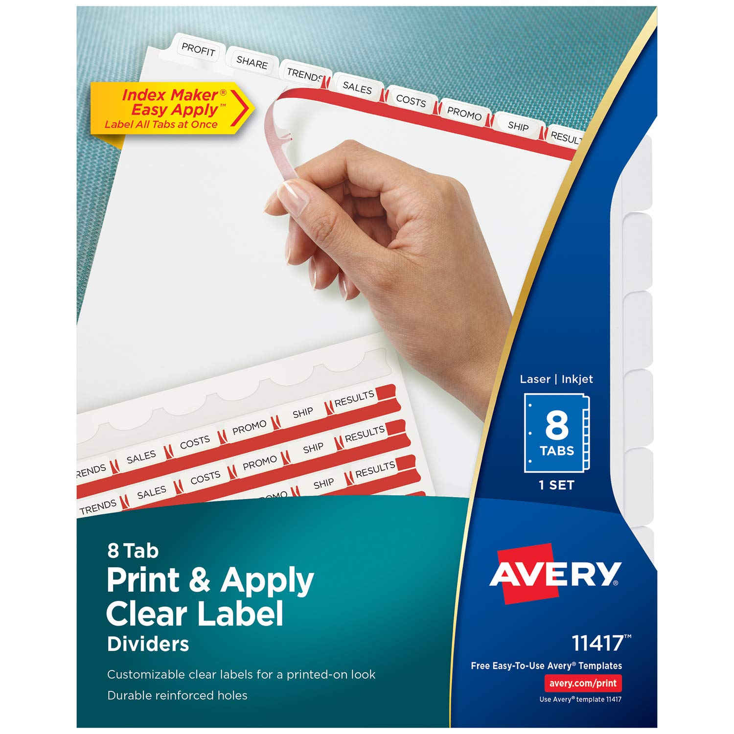 amazoncom avery print apply clear label tab dividers index maker easy apply strip 8 tab divider set 11417 binder index dividers office products