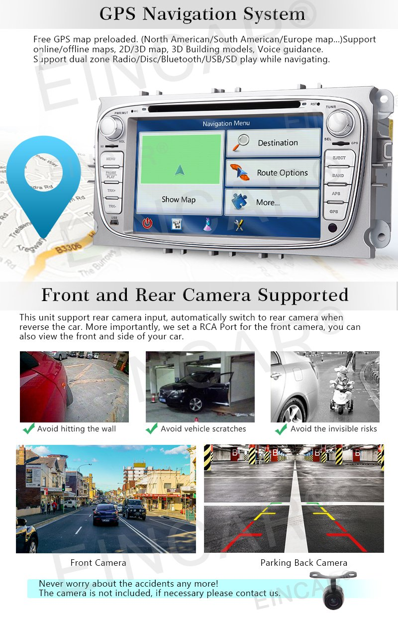 Eincar Android 60 Quad Core Car Radio In Dash 7inch 2008 Ram 1500 Reverse Wiring Diagram Double Din Stereo Headunit For Ford Focus Mondeo Support Gps Navigation Mirror Link Canbus