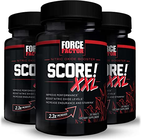 Force Factor Score XXL Nitric Oxide Booster Supplement for Men with L Citrulline Maca and Tribulus to Improve Performance Increase Stamina and Support Blood Flow Tablets, Black, 90 Count