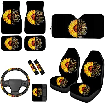 She is Life Itself Wild and Free Belidome Sunflower Car Accessories Car Front Seat Covers Car Wheel Cover Center Pad Cover Seatbelt Pads Protector