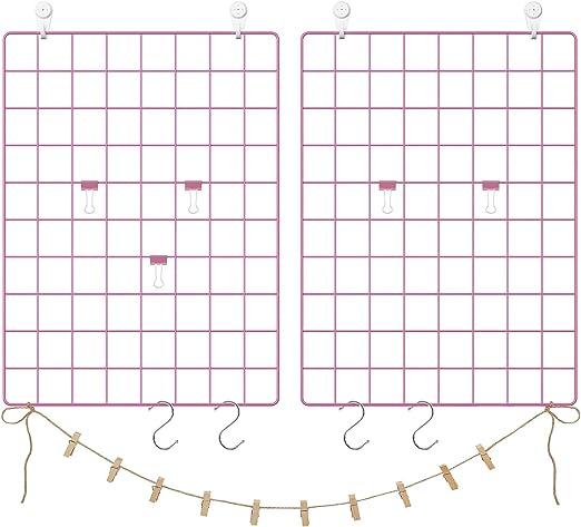 42*31cm Grid Panel Photo Wall Grid Mesh Display Panel Wall Multi Functional Metal Mesh Grid Panel Photo Wall Decoration DIY Grid Wall Ins Art Display Hanging Organizer Memo Board Set of 2 Rose Gold