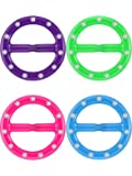 TecUnite 4 Pieces Multicolor Plastic Tee Shirt Clips with Rhinestones for 80s Party Decoration