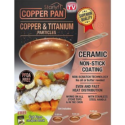starlyf® Copper Pan, de 3 Piezas de cerámica y Cobre - Juego de sartenes
