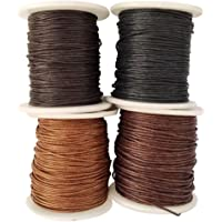 Baoblaze 4 Rolls 1mm Waxed Cotton Cord Thread DIY Jewelry Making Beads Supplies - 1#, as described