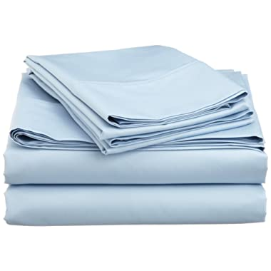 Galaxy's Linen Full Size Sheet Set (4PCs) Only - 600 Thread Count 100% Egyptian Cotton Solid Light Blue Recommened & Deluxe Sheets With Deep Pocket - 12  Inches By