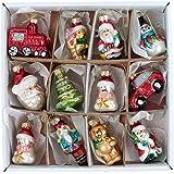 Set of 12 Mini Glass Hanging Christmas Tree Decorations by Gisela Graham