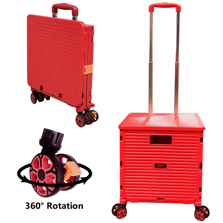 Tragkraft 45 kg Tragbarer langlebiger Faltbare Einkaufstrolley-Box auf R/ädern mit Deckel ger/äuschloser 360 /° -Drehung und verstellbarem Kofferraumwagen aus Aluminiumlegierung verschlei/ßfester