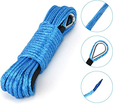 Durable Winch Cable ATV Winch Rope for SUV UTV ATV Winches Truck Boat Blue Kohree Synthetic Winch Rope-1//4 x 50-7700lbs