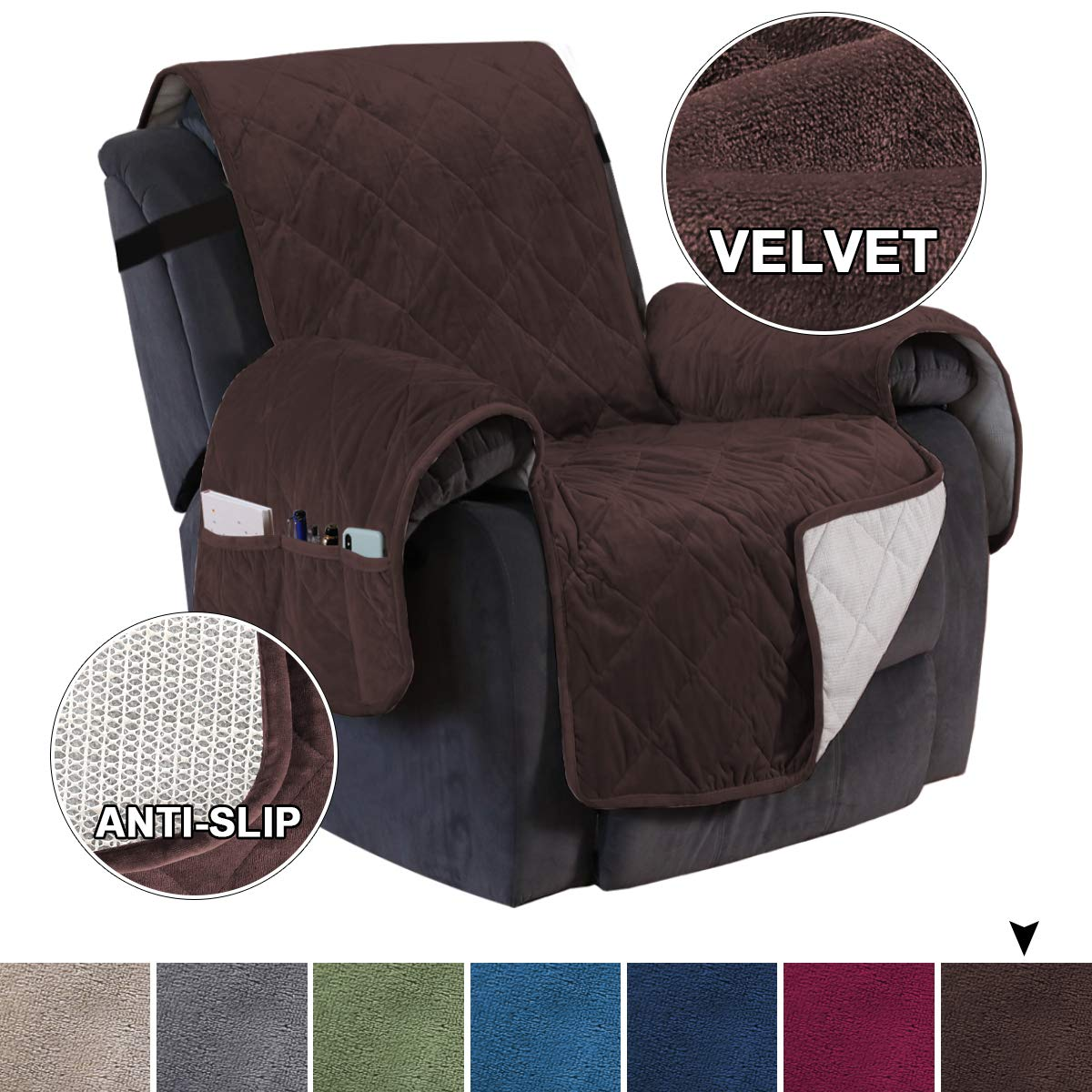 """Turquoize Velvet Slip Resistant Couch Slipcover Oversized Recliner Chair Covers, Seat Width to 28"""" Furniture Protector, 2"""" Strap/Hook Sofa Slipcover Cover Perfect Pets Kids (Recliner,91""""x82"""") Brown"""