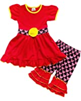 So Sydney Girls Toddler 2-3 Pc Polka Dot Minnie Mouse Ruffle Pants Tee Outfit