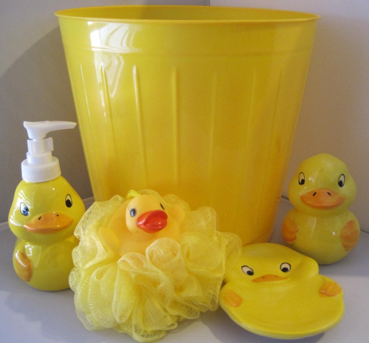 Amazon.com: 5 Piece Bathroom Accessories   Yellow Duck   Lotion Soap  Dispenser, Soap Dish, Toothbrush Holder, Bath Sponge And Trash Can: Home U0026  Kitchen