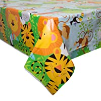 Animal Jungle Party Plastic Tablecloth, 7ft x 4.5ft