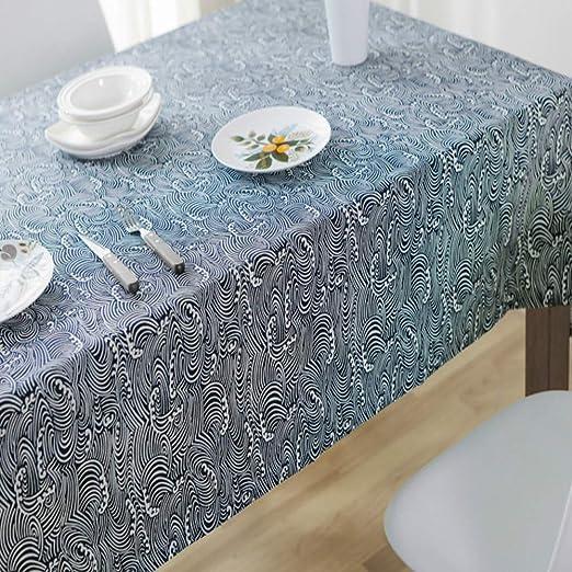 CFWL - Mantel de Lino de algodón, Mantel Rectangular de Tela para la casa Navy, 140 x 200 cm, Mantel Blanco para Boda, Mantel Blanco Antimanchas: Amazon.es: Hogar