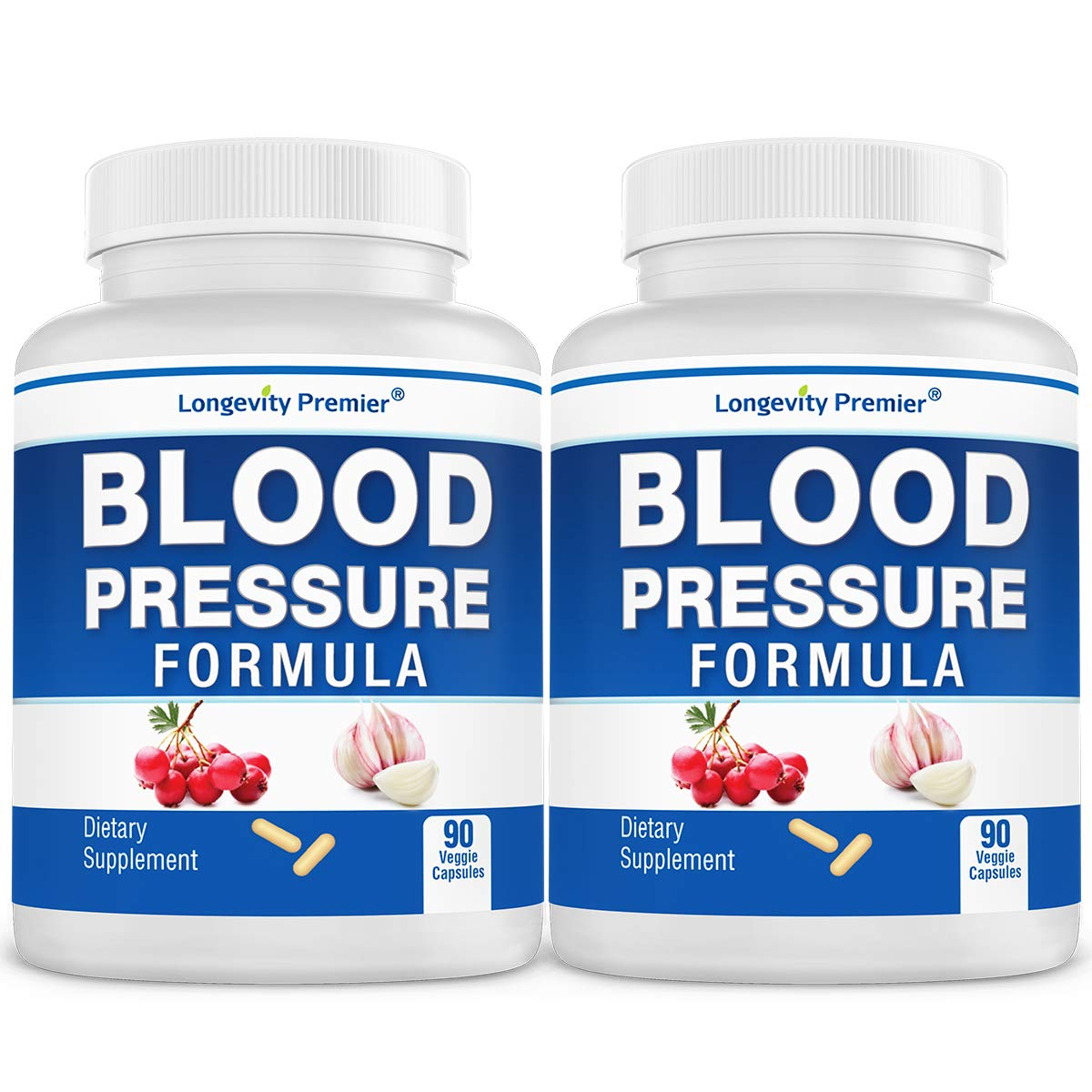 [2-Bottle Value Pack] Longevity Blood Pressure Formula -Scientifically formulated with Hawthorn & 12+ top Quality All Natural Herbs