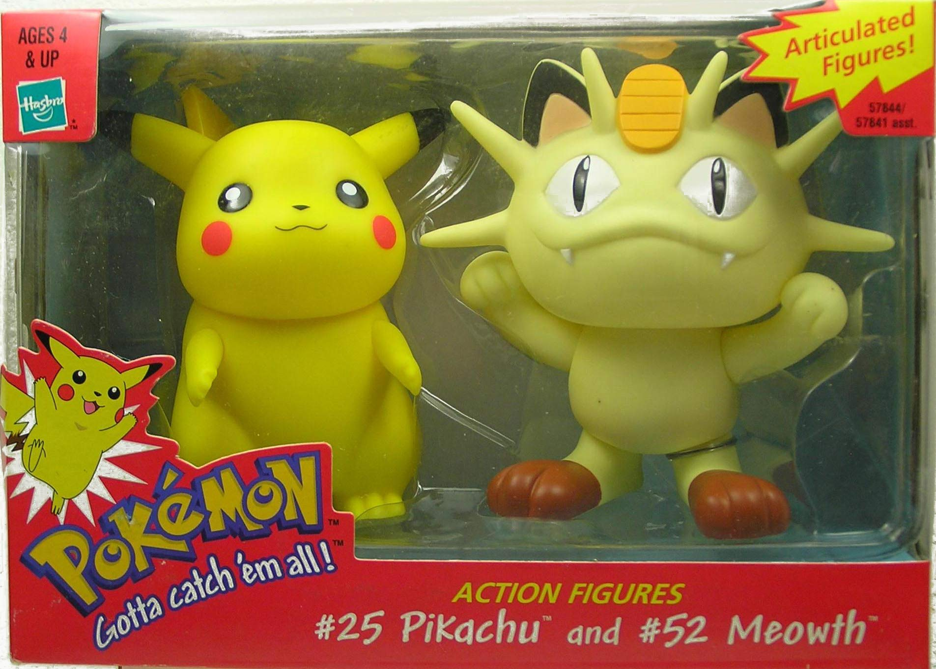 AFLOT2-TOY-PKCHMWTH-076930578445-N Pokemon Articulated Figures #25 Pikachu and #52 Meowth Action Figures