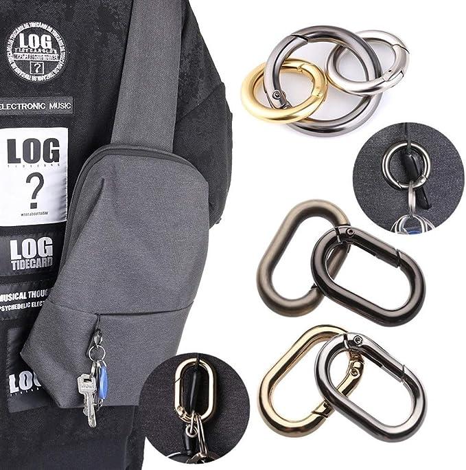 5pcs round Alloy Carabiner Spring Snap Clip with Loop 25mm keys keyring bag cord