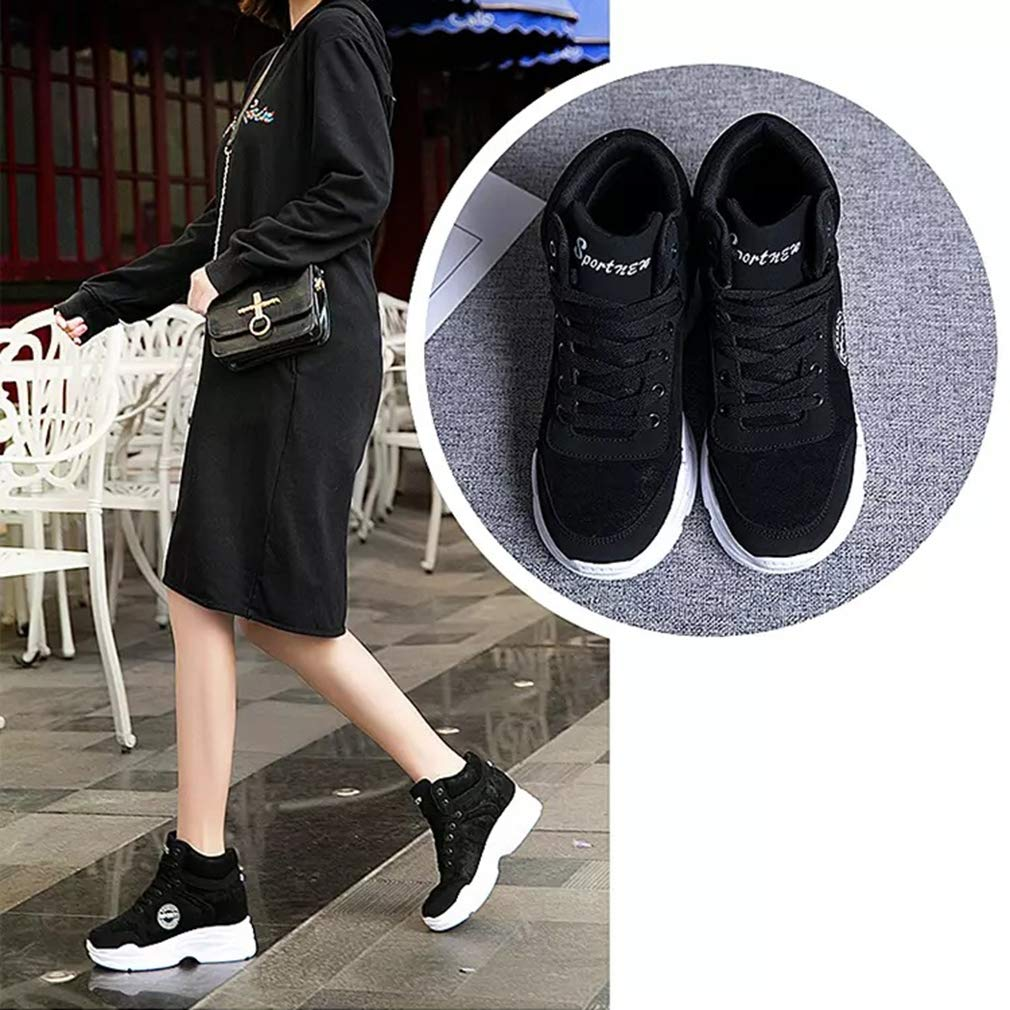 YXB Womens Platform Shoes New 2019 Fashion Sneakers PU Casual Invisible Heightening Shoes Shallow Athletic Shoes,White,35