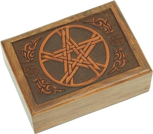 Caja de tarot de madera tallada a mano: Amazon.es: Hogar