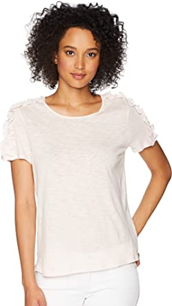 0cfae874ca98b CeCe Womens Short Sleeve Mix Media Knit Top at Amazon Women s ...