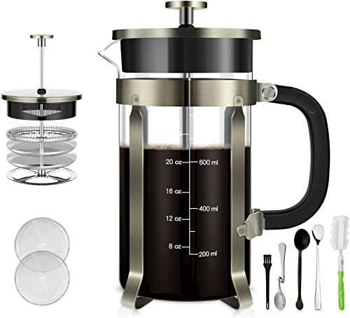 TAIKER French Press Coffee Tea Maker 34 oz,8 cups Heat Resistant Glass Stainless Steel Frame