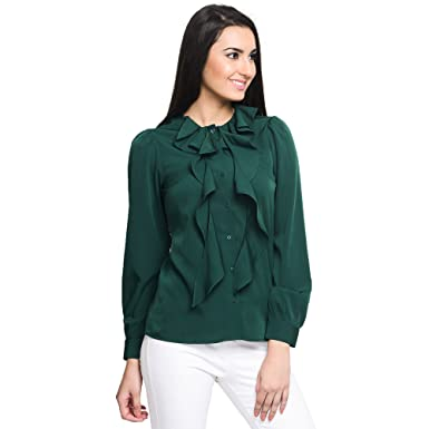 4499737646 Pussybow Ruffle Shirt at Amazon Women s Clothing store