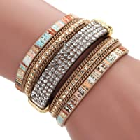 Mingfa.y Vintage Bohemia Beaded Multilayer Leather Bracelet, Handmade Braided Wrap Cuff Magnetic Clasp for Women