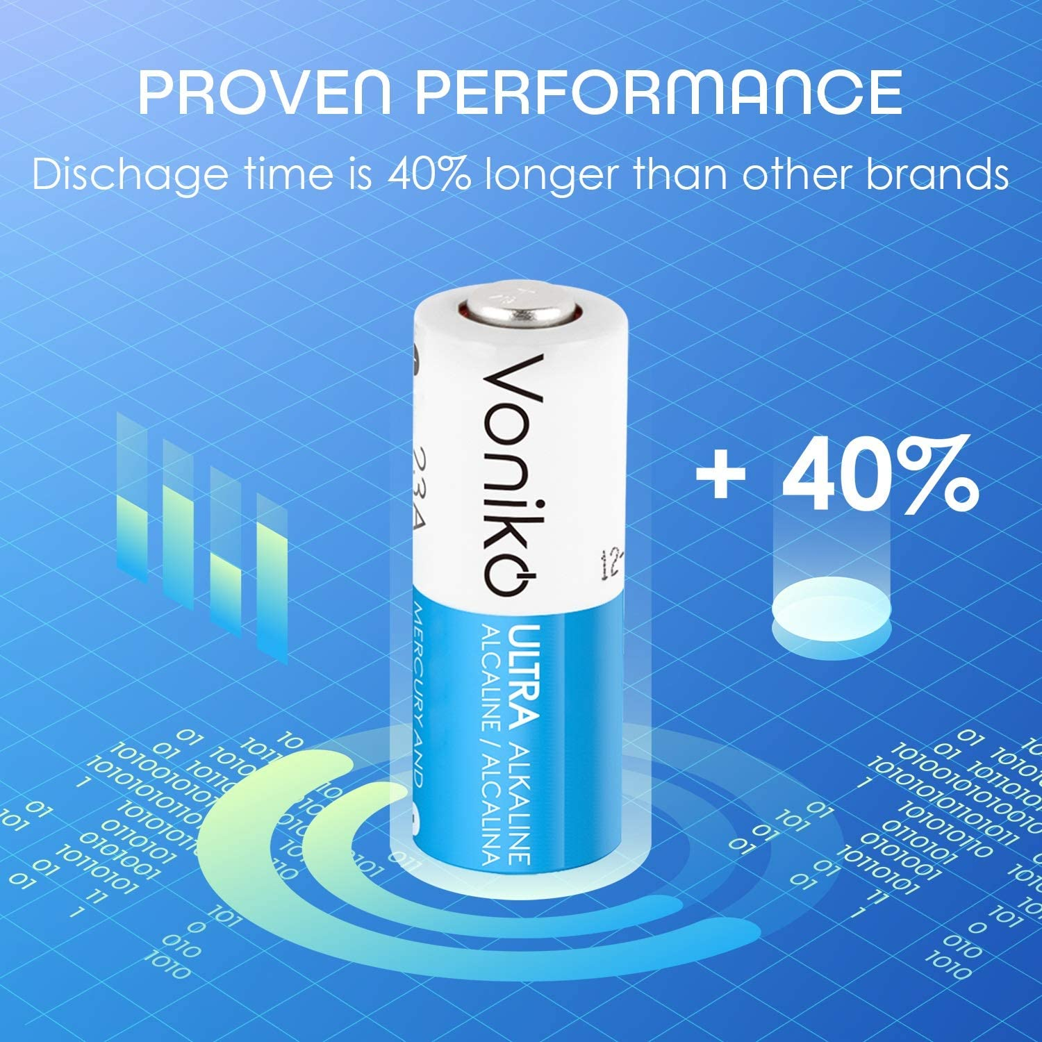 3 Years Shelf Life Long Lasting 12 Volt A23 Battery for Doorbells and Power Remote VONIKO Alkaline Battery 23 A Ultra 23A Battery 6 Pack