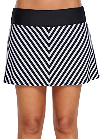 5cd43e48f9e75 SZIVYSHI Wide Waistband Striped Stripe Mini A-Line Skater Skirt Brief  Bikini Bottom Swimwear Swimsuit Bathing Suit Beach Wear Beachwear Swimming  Suit  ...