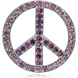 Alilang Silver Tone Clear Crystal Colored Rhinestones Hippie Peace Sign Brooch Pin