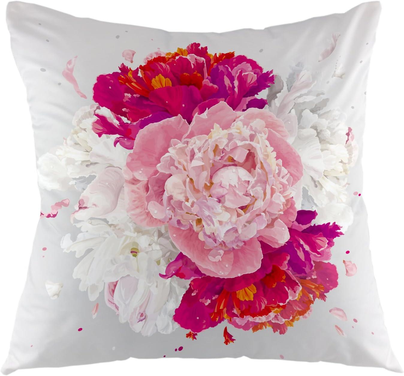 "Rose Peony Flower Pillowcase Cushion Cover Home Sofa Throw Pillow Case Decor 18/"""