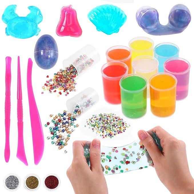 STOBOK Crystal Clear Fluffy DIY Starter Slime Supplies para artesanía artística para niños, Incluye Bolas de Espuma, Cuentas de pecera, rebanadas de Dulces ...