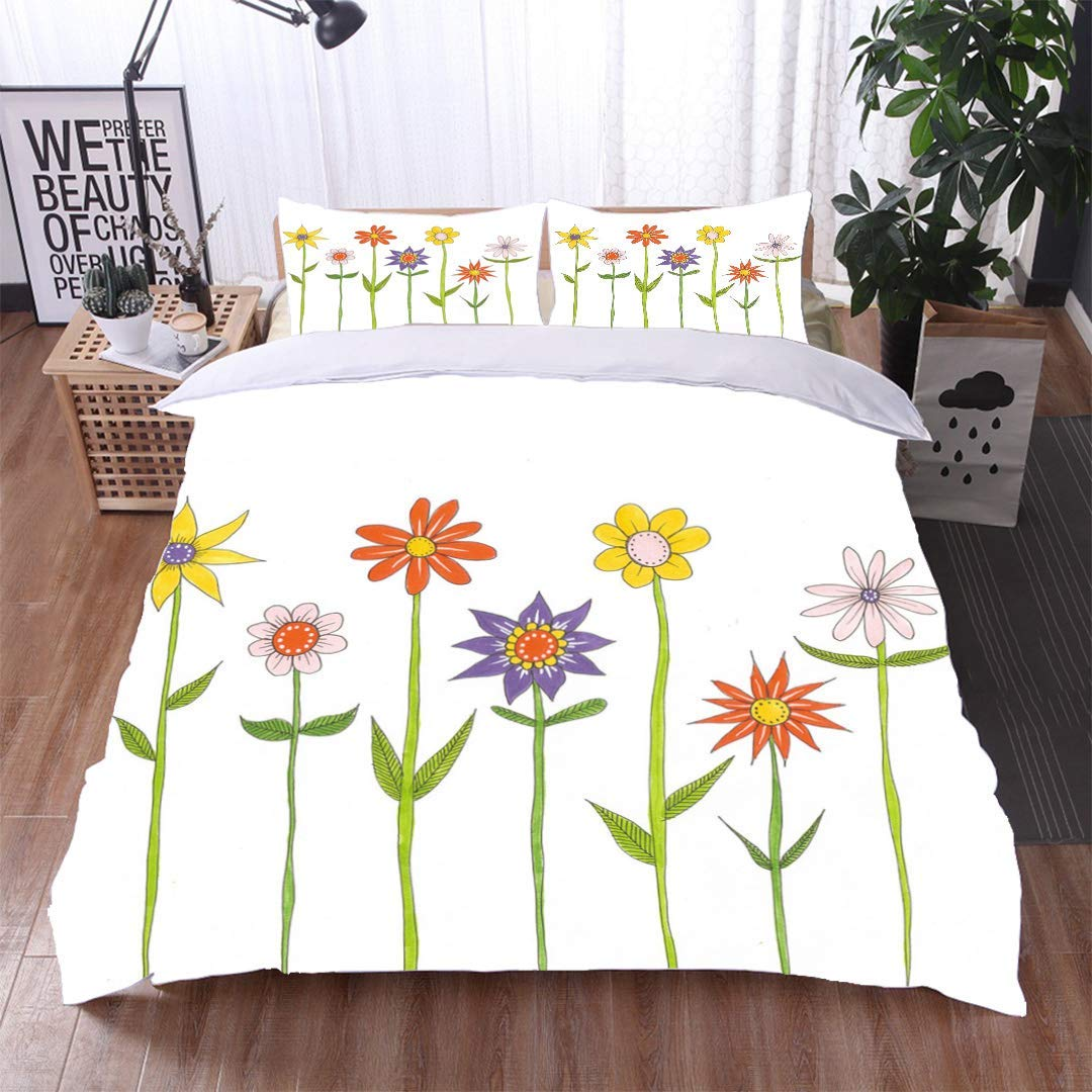 VROSELV-HOME Bedding Bedspread,Flowers with Long Stems and Leaves,Soft,Breathable,Hypoallergenic,Colorful Floral Print - 3 Pieces by VROSELV-HOME