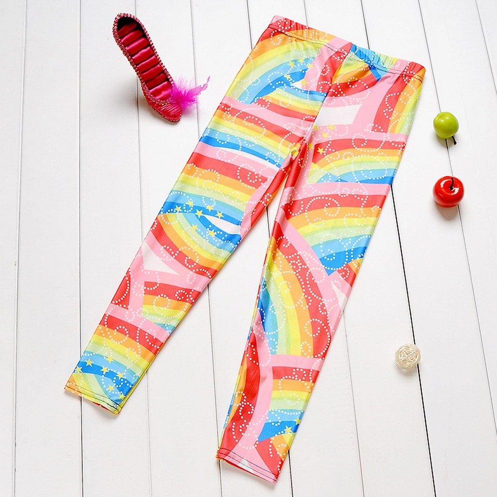 JTC Girl Kid Printed Stretchy Leggings Tights Pencil Pants Rainbow