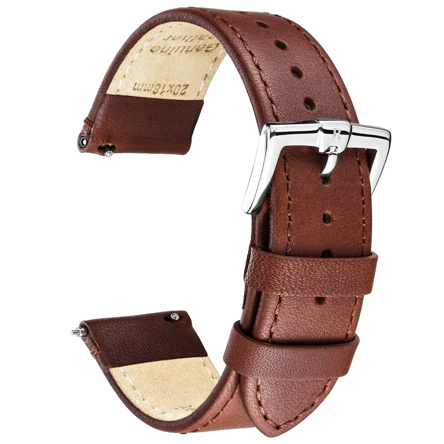 B&E Quick Release Watch Bands Strap Top Smooth Genuine Leather for Men & Women - Lite Vintage Style Wristbands for Traditional & Smart Watch - 16mm 18mm 20mm 22mm 24mm Width Available - DKBNBN22 by BRISMASSI ESETTI