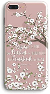 iPhone 6 Case/iPhone 6S Case,Unique Pretty Flowers Blossoms Bible Verse Christians Inspiration Quotes Clear Soft Shock Absorption TPU Case Cover for Apple iPhone 6/6S