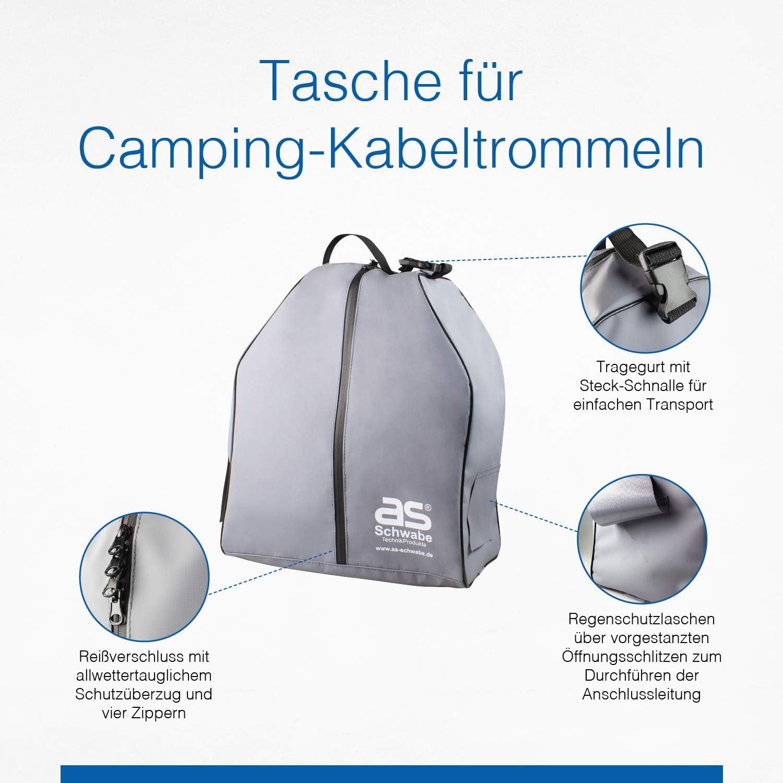 Schutz vor Regen und Schmutz as Grau I 12279 Schwabe Camping-Kabeltrommeltasche 39 x 33 x 21 cm Allwettertaugliche Schutz-Tasche mit 2x vorgestanzten Kabel/öffnungen