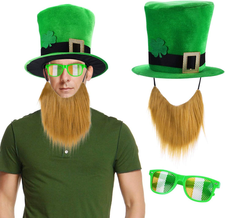 St Patricks Day Leprechaun Green Hat and Shamrock Glasses